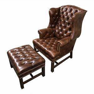 Georgian, Style, Leather, Wingback, Chair, Ottoman, By, Schafer, Brothers