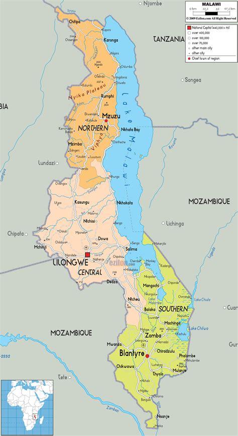 political map of malawi ezilon maps