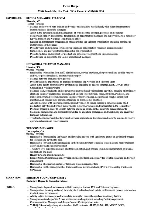 Telecom Project Manager Resume Sle by Telecom Manager Resume Sles Velvet