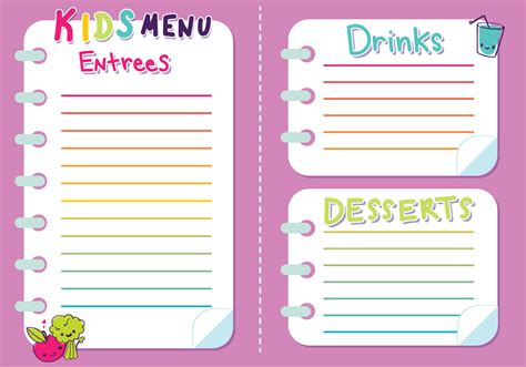 kids menu vector girls   vector art stock