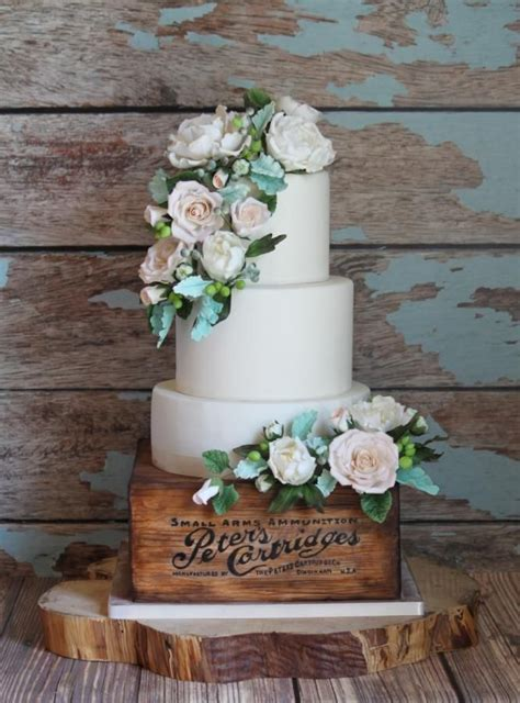 White Peonies And Roses Rustic Wedding Cake Cakes And Cake