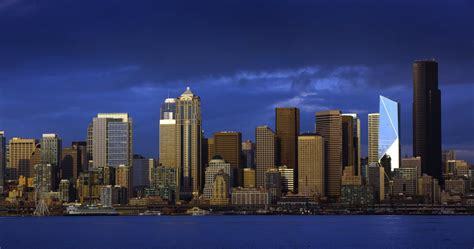 Early winter blues color Seattle skyline | The Seattle Times