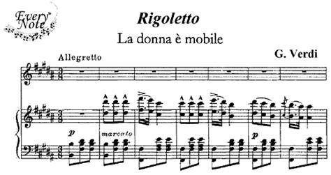 La Donna E Mobile Rigoletto by Verdi Rigoletto La Donna E Mobile Opera Sheet
