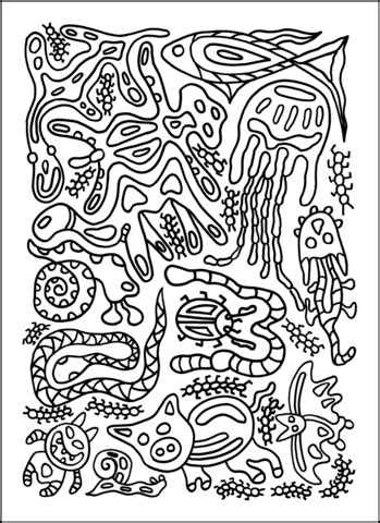 psychedelic pattern  animals coloring page