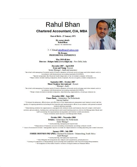 chartered accountant resume template   word