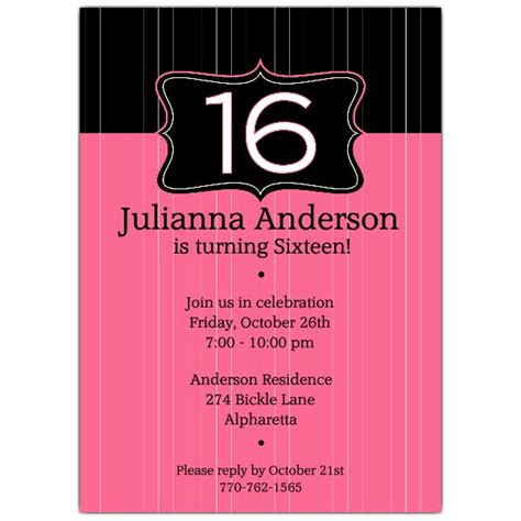 16th Birthday Invitations Templates by Black Emblem Pink 16th Birthday Invitations Paperstyle