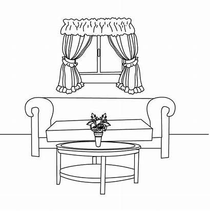 Coloring Pages Living Dining Sketch Bedroom Furniture