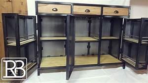 Meuble Bois Et Acier : fabriquer un meuble metal et bois minibar buffet 2 2 diy youtube ~ Teatrodelosmanantiales.com Idées de Décoration