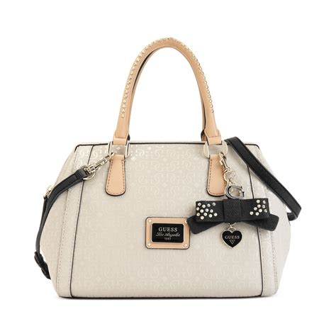 lyst guess guess handbag specks frame satchel  white