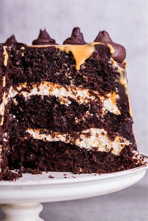 chocolate cake  salted praline cream filling  dulce