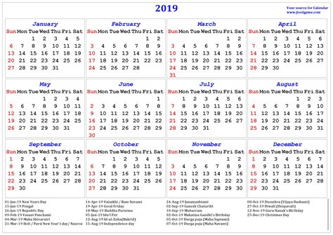 Free Printable Calendar 2019 With Indian Holiday