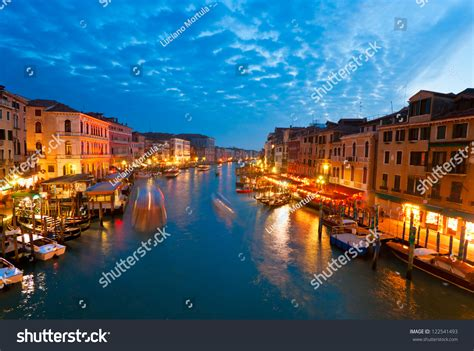 Grand Canal At Sunset Venice Italy Stock Photo