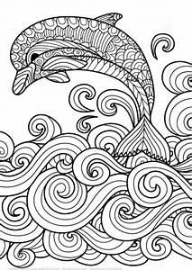Coloriage Dauphin Avec La Vague De Mer Dfilant En