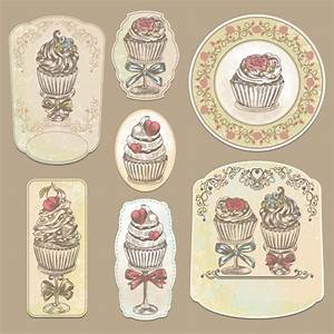 Vintage cupcakes labels creative vector 02 - Vector Food ...