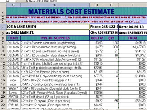 bathroom remodel estimate sample basement remodeling
