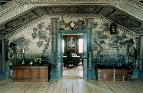 mural  sandemar manor  sweden interiors  color
