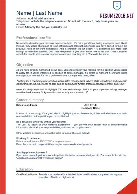 Unemployed Resume Template by 2016 Resume Templates For Those Who Still Unemployed