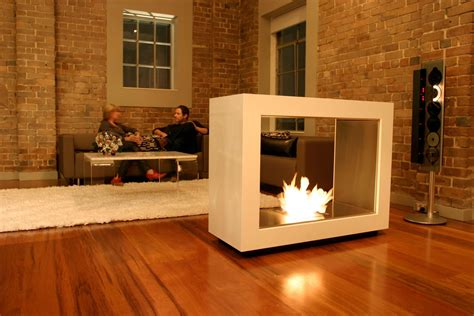 entertainment room ideas creative freestanding fireplace designs with brick wall