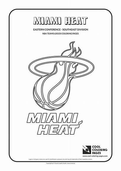 Nba Coloring Basketball Pages Logos Heat Miami