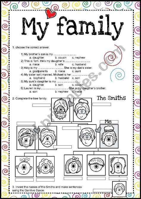family saxon genitive practice esl printables