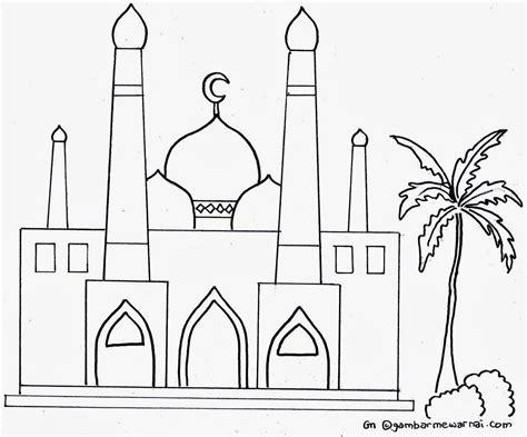 sketsa mewarnai masjid
