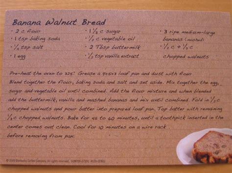 Starbucks Banana Walnut Bread Recipe Card