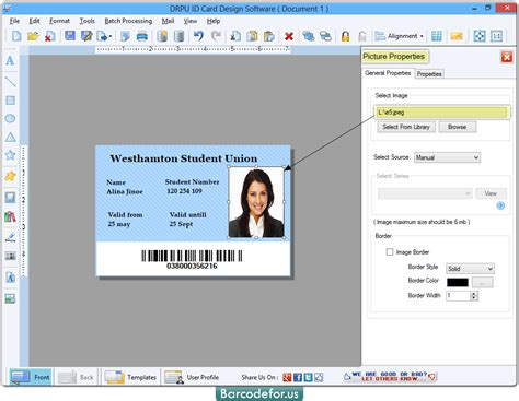 id card maker software designs identity cards barcodeforus