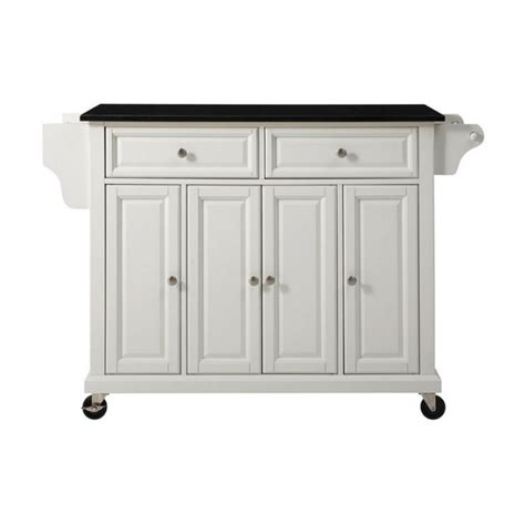 crosley furniture kitchen cart crosley furniture solid black granite top kitchen cart in white kf30004ewh