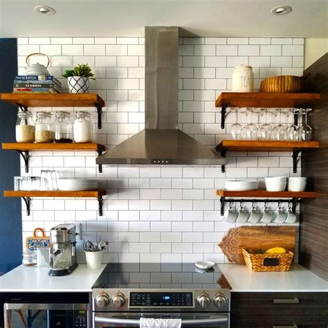 diy storage kitchen open kitchen shelving how to build and mount kitchen shelves 3414