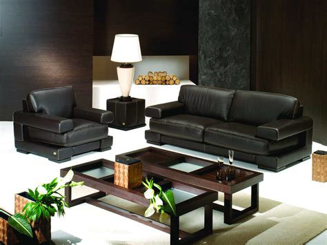 Living Room Design With Black Leather Sofa : Chic Modern Living Room Interior Design Decorated With