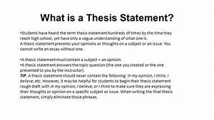 is a thesis statement only one sentence