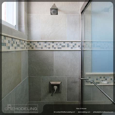 bathroom tile trim ideas cool neutral toned walk in shower tiling detail eclectic tile philadelphia by dremodeling