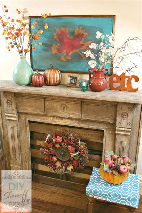 teal fall mantel decoration autumn decorating awesome fireplace turquoise fabulous porch diyshowoff decorations some mantle mantels need simple inspire stunning