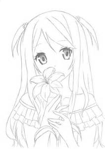 Anime Girl with Flowers Drawings