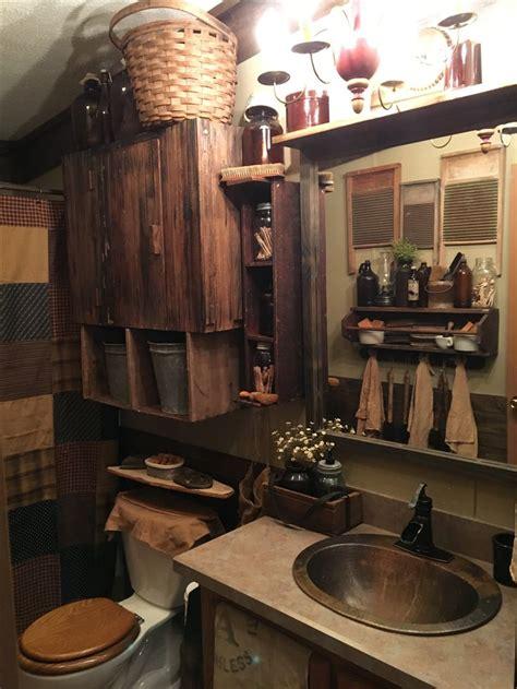 primitive bathroom rustic home decor diy