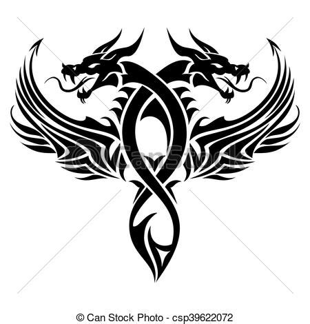 Tatouage, Tribal, Dragon Tatouage, Tribal, Illustration