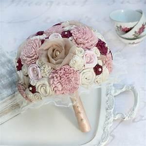 Rose Gold & Burgundy Sola Flower Bride Bouquet