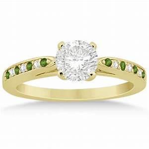 Peridot diamond engagement ring set 14k yellow gold 0 for Peridot wedding ring set