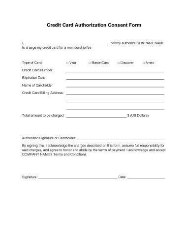 credit card authorization 25 credit card authorization form template free