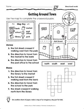 town directional words printable