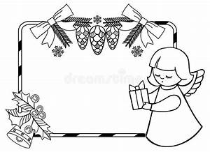 Black And White Christmas Frame With Cute Angel. Stock ...