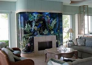 Fish Tank Design Above Fireplace Mantel Decoration Living