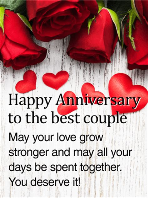 couple rose happy anniversary card