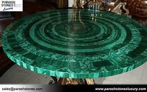 Luxury Slab Furniture In Malachite Semi Precious