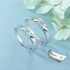 simple wave promise rings set for women and men 925 With men s wave wedding ring