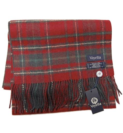red green  charcoal plaid wool  cashmere scarf