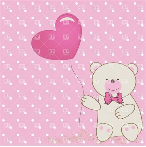 teddy bear  bow heart shaped balloon vector image