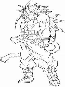 Dragon Ball Z Goku Super Saiyan 4 Coloring Pages Az