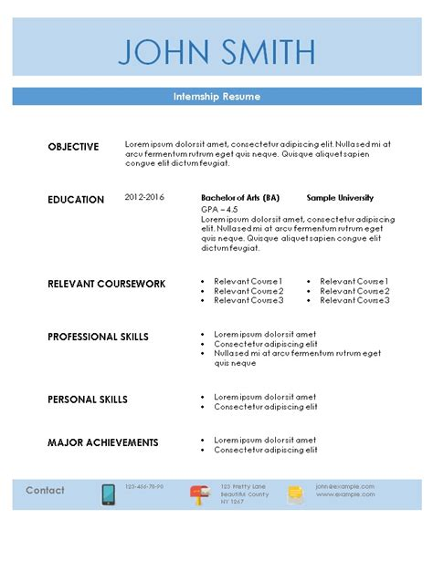 Free Resume Builder For Internships by Internship Resume Template Resume For Internship