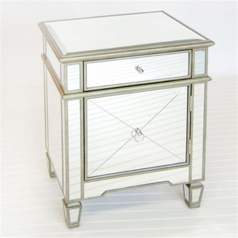 mirrored end tables nightstands worlds away mirrored claudette nightstand